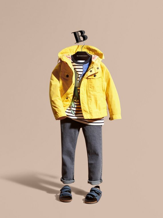 Hooded Packaway Technical Jacket Bright Yellow