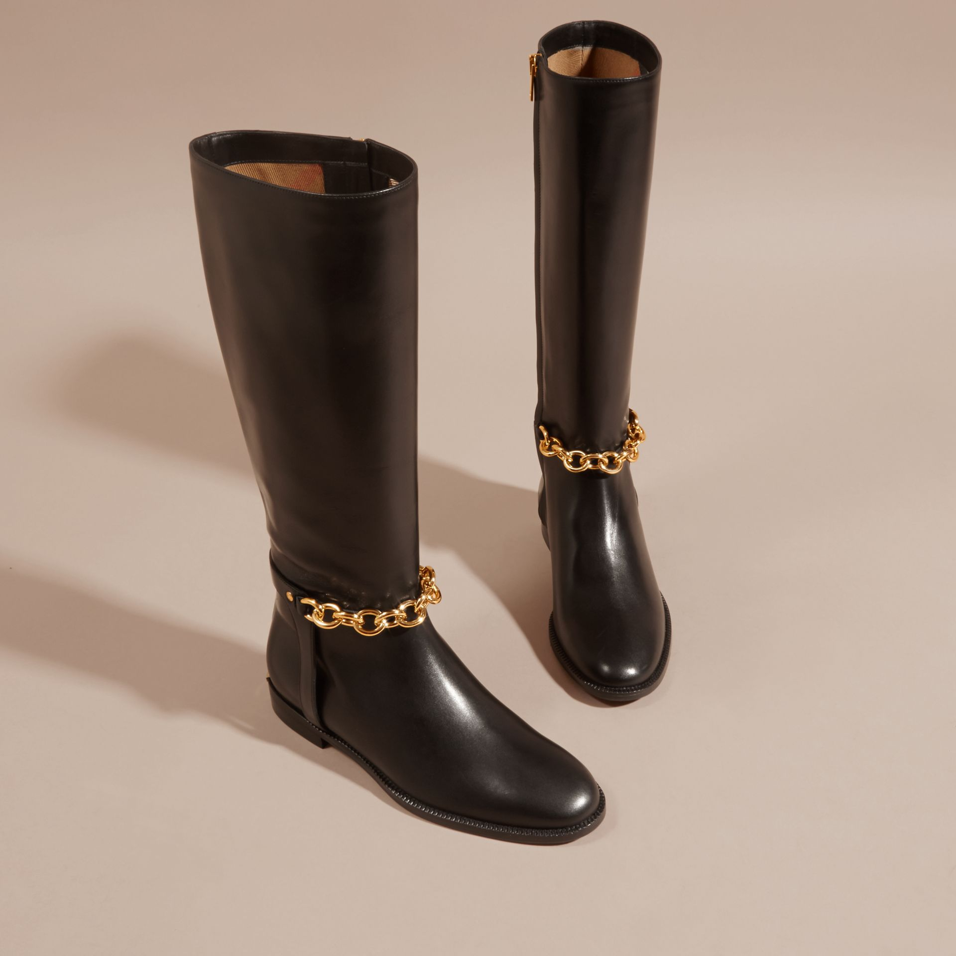 Black Chain Detail Leather Riding Boots - gallery image 3