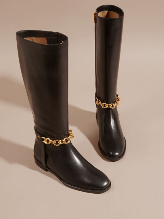 Black Chain Detail Leather Riding Boots - cell image 2
