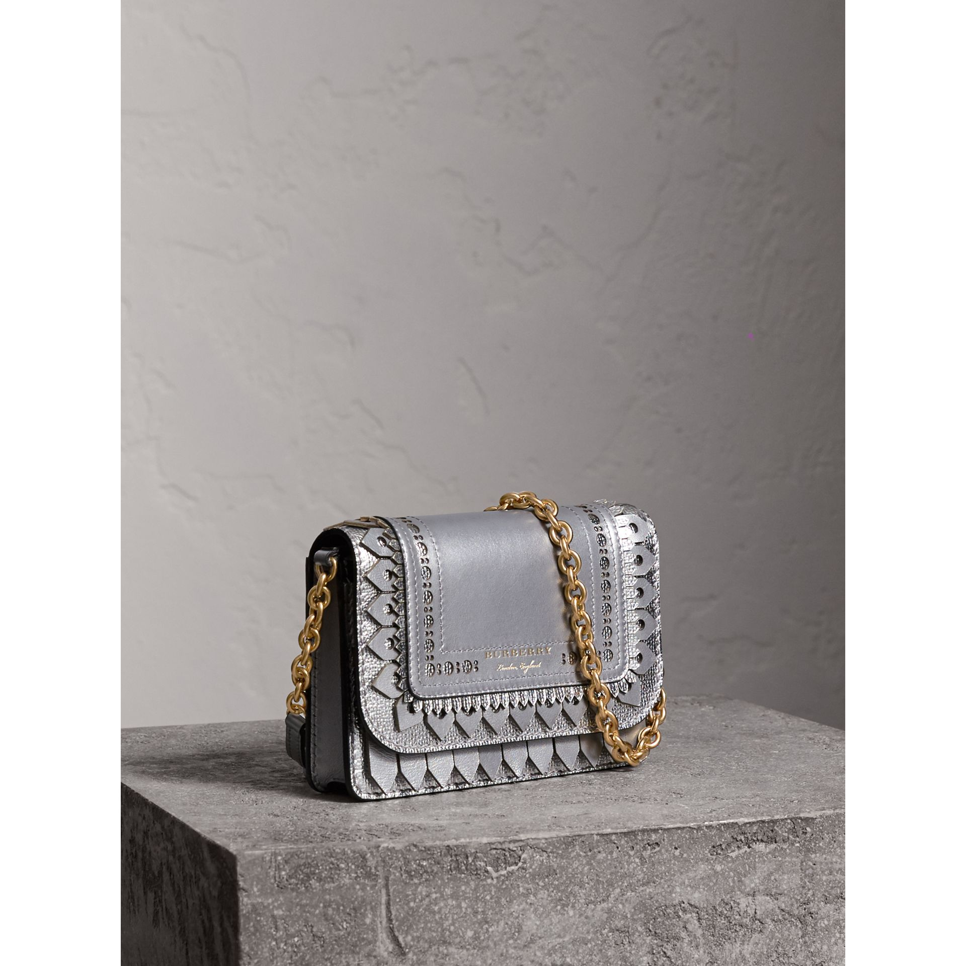 Brogue Detail Metallic Leather Wallet with Detachable Strap in Silver - Women | Burberry - gallery image 7