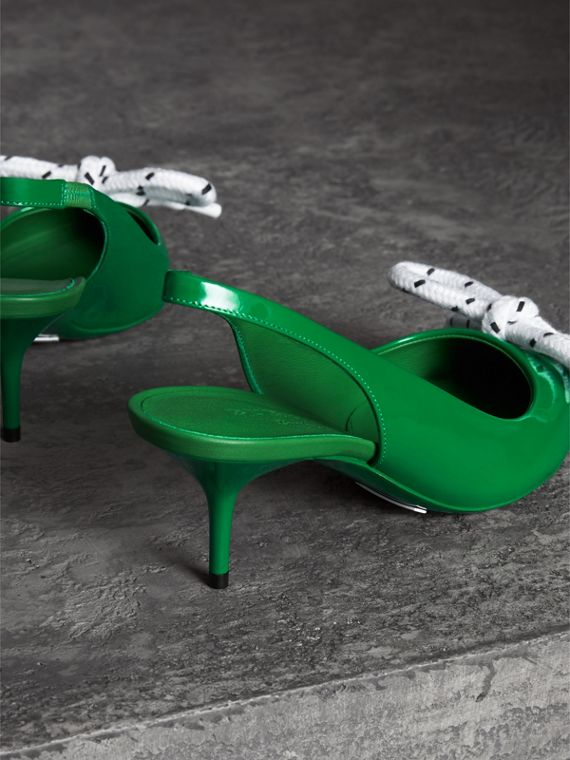 Rope Detail Patent Leather Slingback Pumps in Bright Pigment Green - Women | Burberry Australia - cell image 2