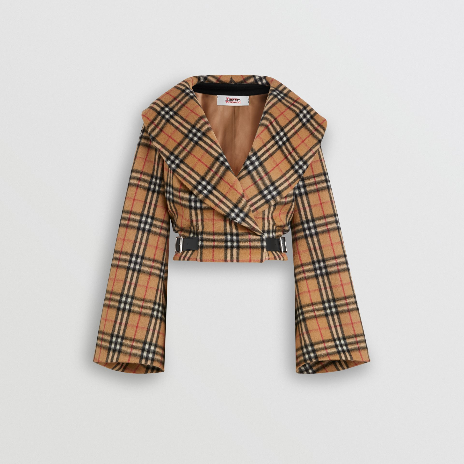 Vintage Check Alpaca Wool Hugger Jacket in Antique Yellow - Women | Burberry Australia - gallery image 3