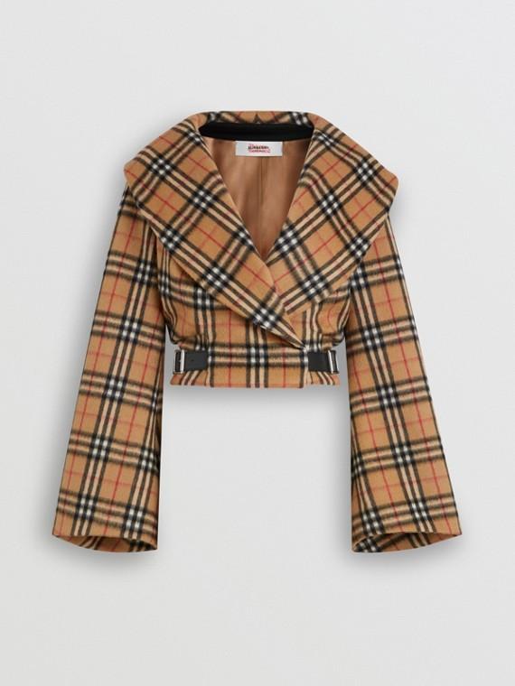 Jaqueta Hugger de lã de alpaca em Vintage Check (Amarelo Antigo)