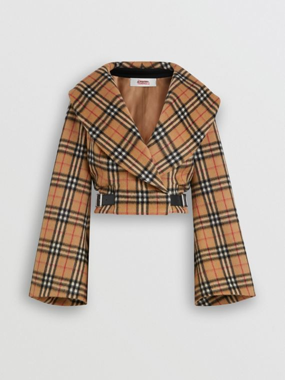 Hugger-Jacke aus Alpakawolle im Vintage Check-Design (Antikgelb)