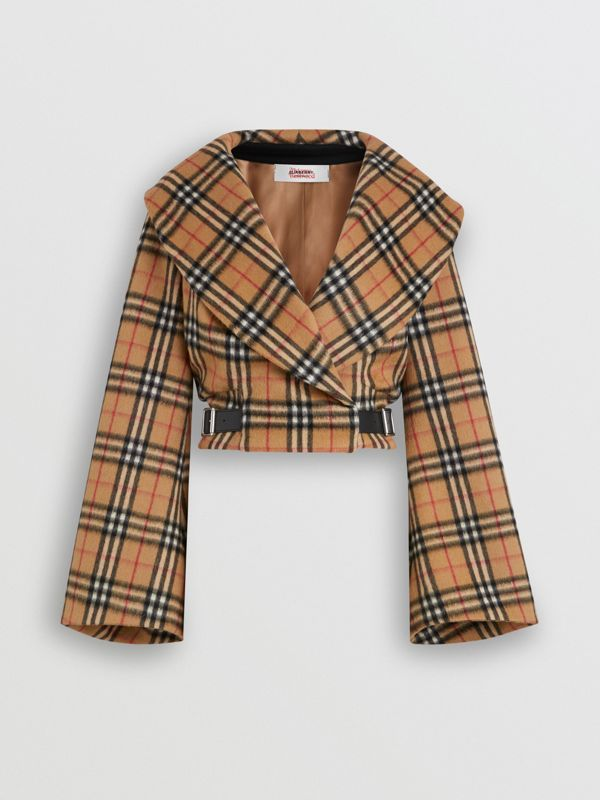 Vintage Check Alpaca Wool Hugger Jacket in Antique Yellow - Women | Burberry Australia - cell image 3