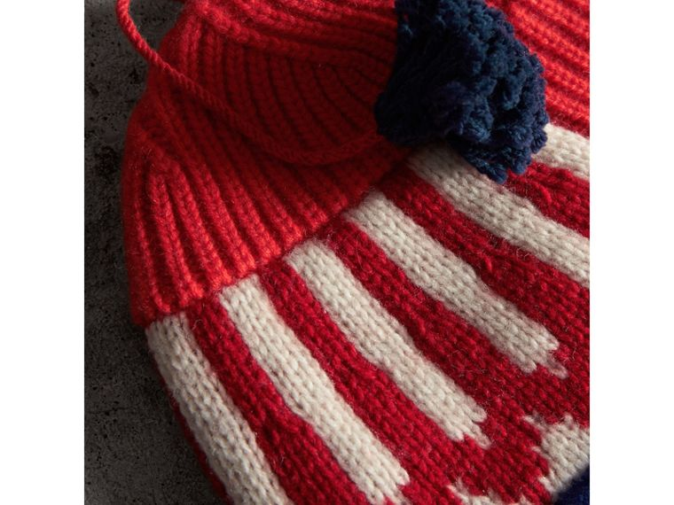 Cashmere Wool Blend Patchwork Beanie in Coral Red | Burberry United States - cell image 1