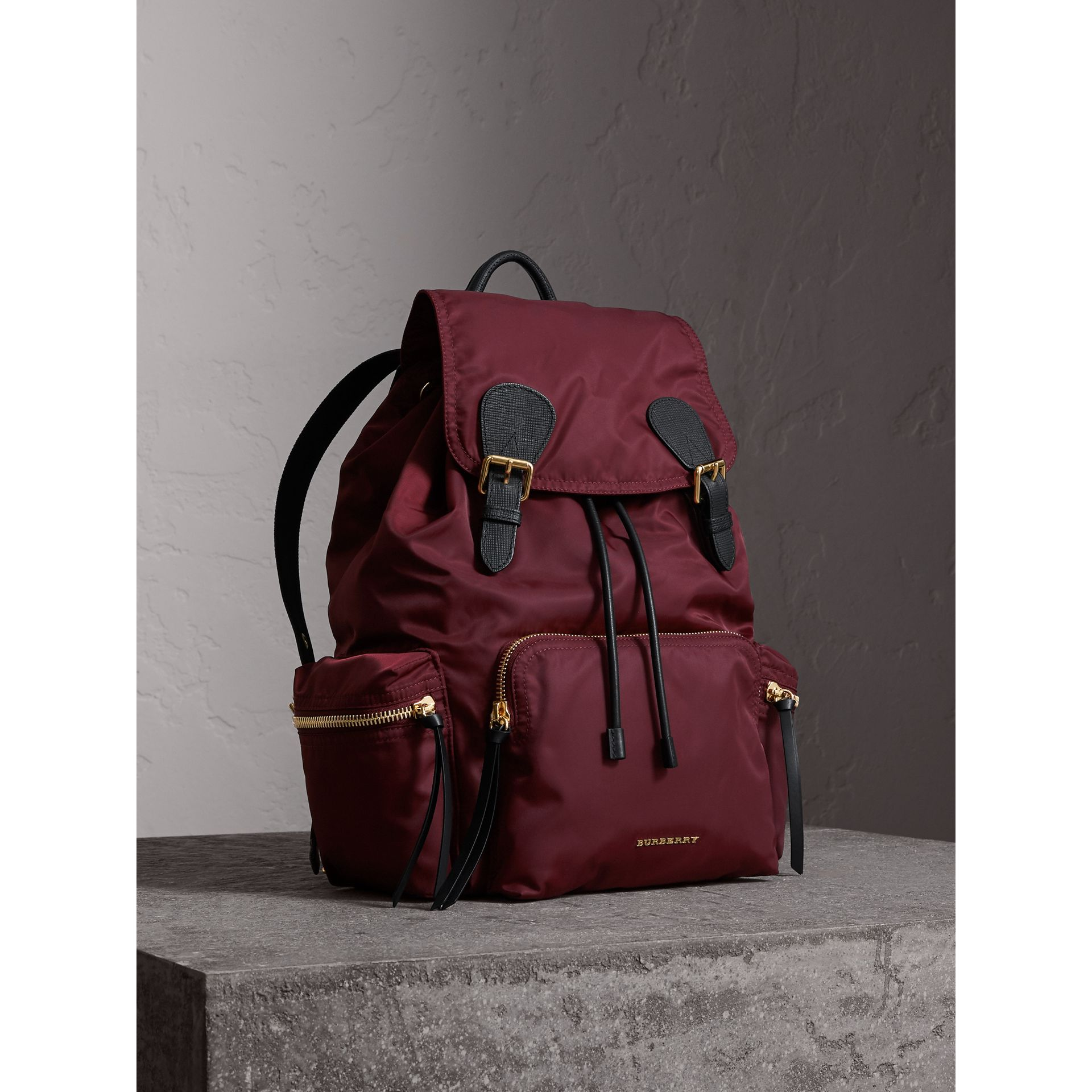 The Large Rucksack in Technical Nylon and Leather in Burgundy Red - Women | Burberry Singapore - gallery image 0