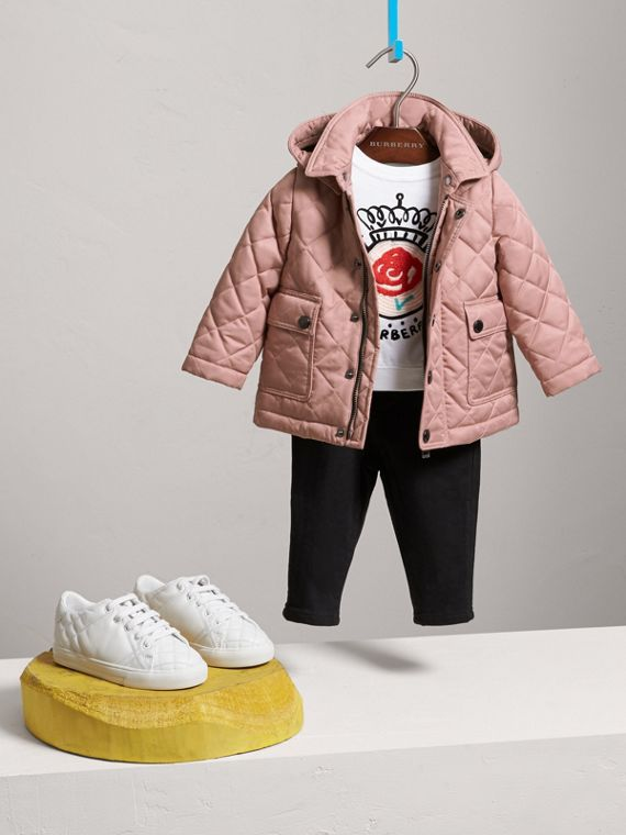 Detachable Hood Quilted Jacket in Pale Rose