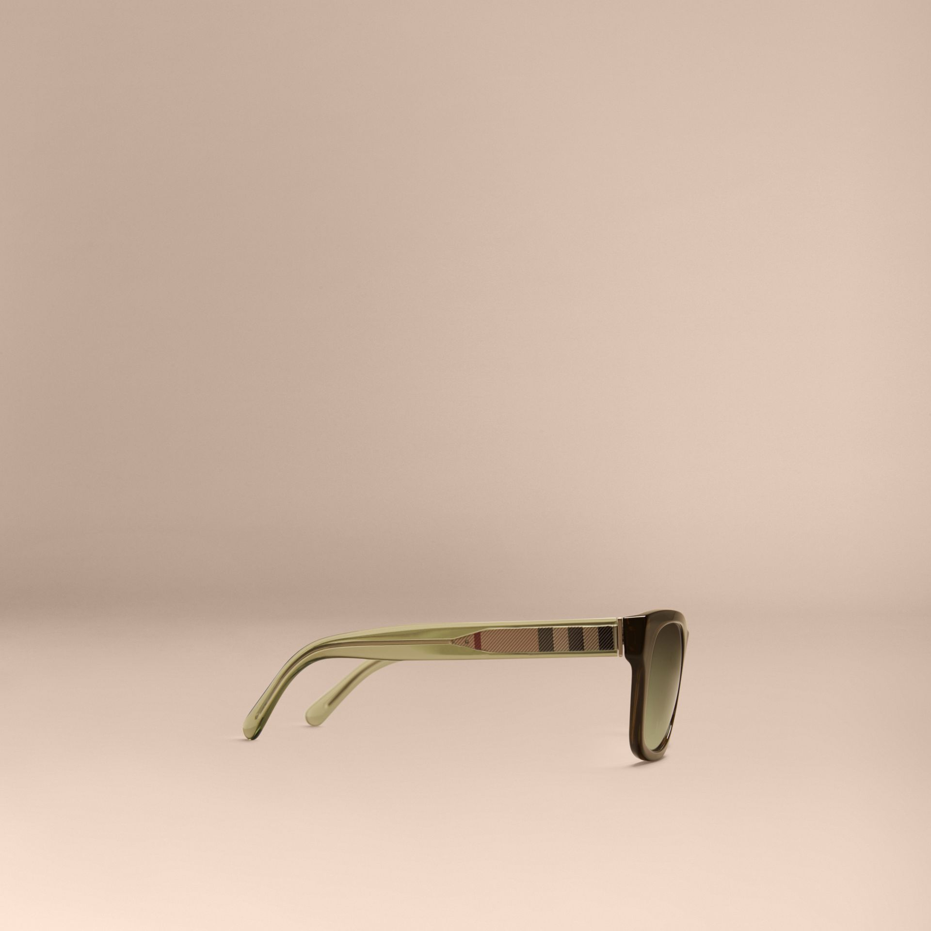 Verde oliva Óculos de sol com armação quadrada e detalhe xadrez Verde Oliva - galeria de imagens 5