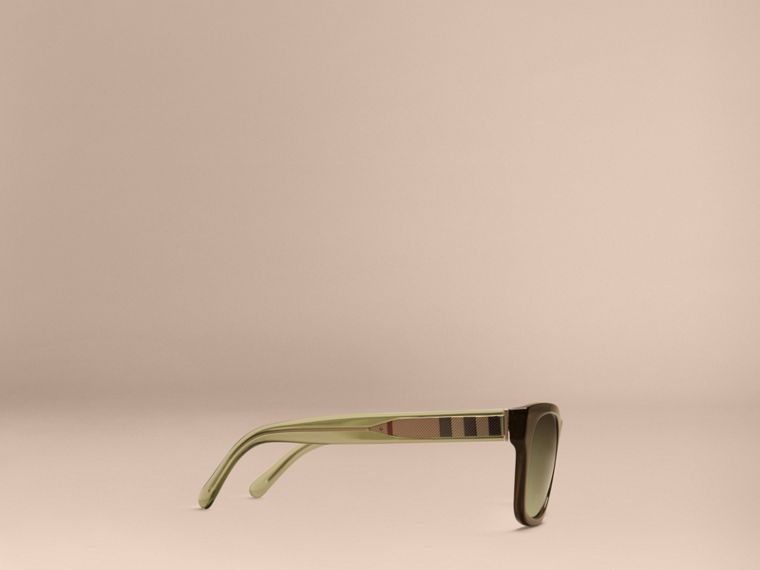 Verde oliva Óculos de sol com armação quadrada e detalhe xadrez Verde Oliva - cell image 4