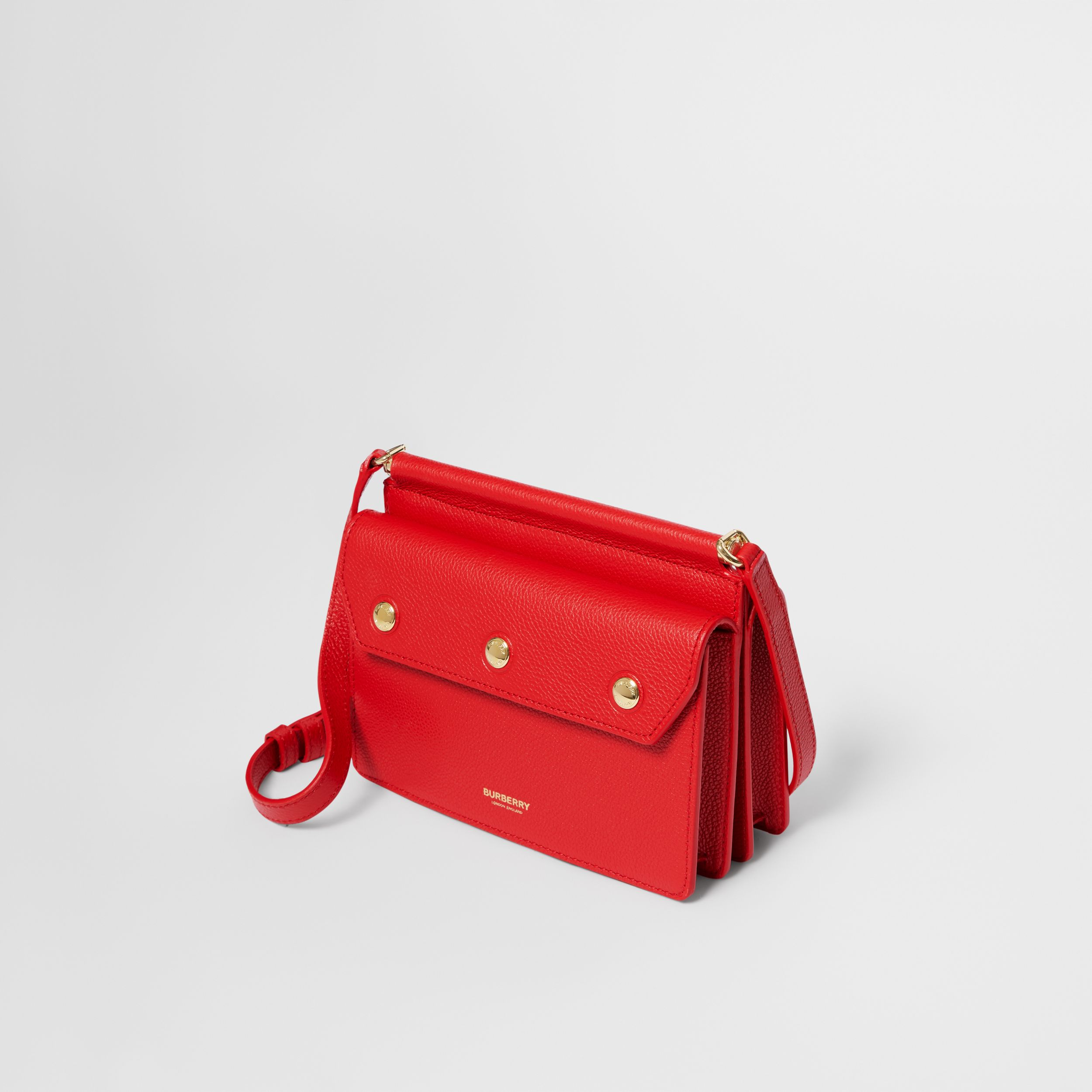 Mini Leather Title Bag with Pocket Detail in Bright Military Red - Women | Burberry - 4