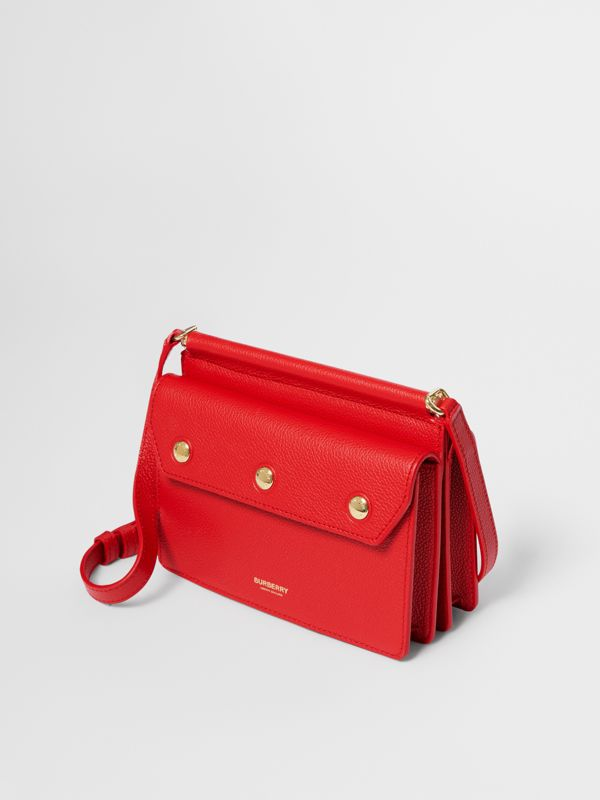 Mini Leather Title Bag with Pocket Detail in Bright Military Red - Women | Burberry - cell image 3