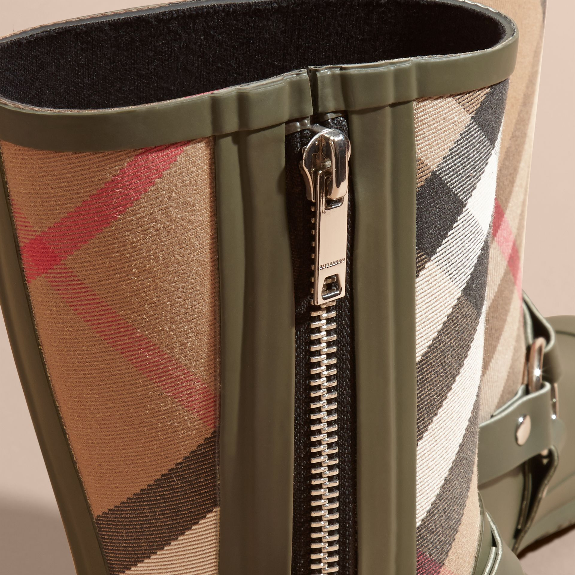 Buckle and Strap Detail Check Rain Boots House Check/military Green - gallery image 2