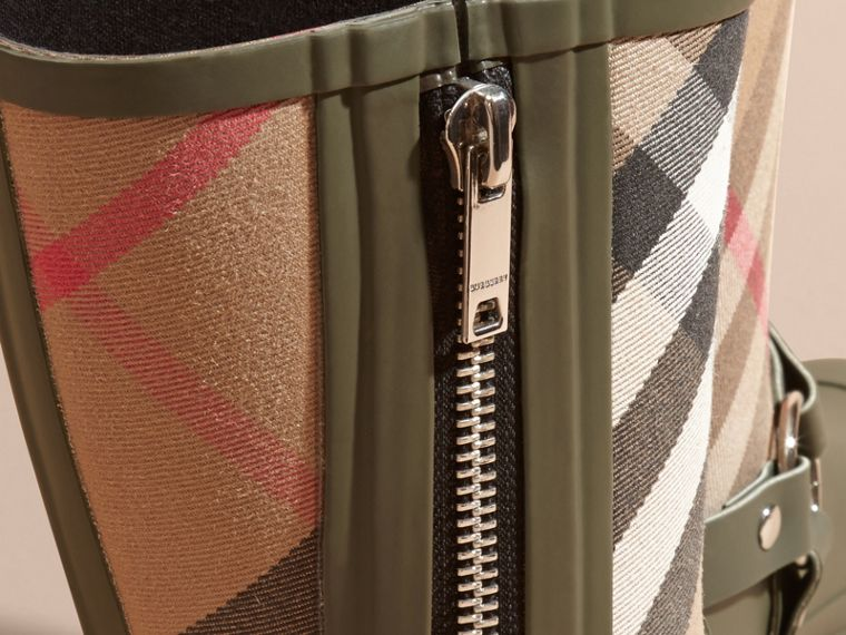 Buckle and Strap Detail Check Rain Boots House Check/military Green - cell image 1