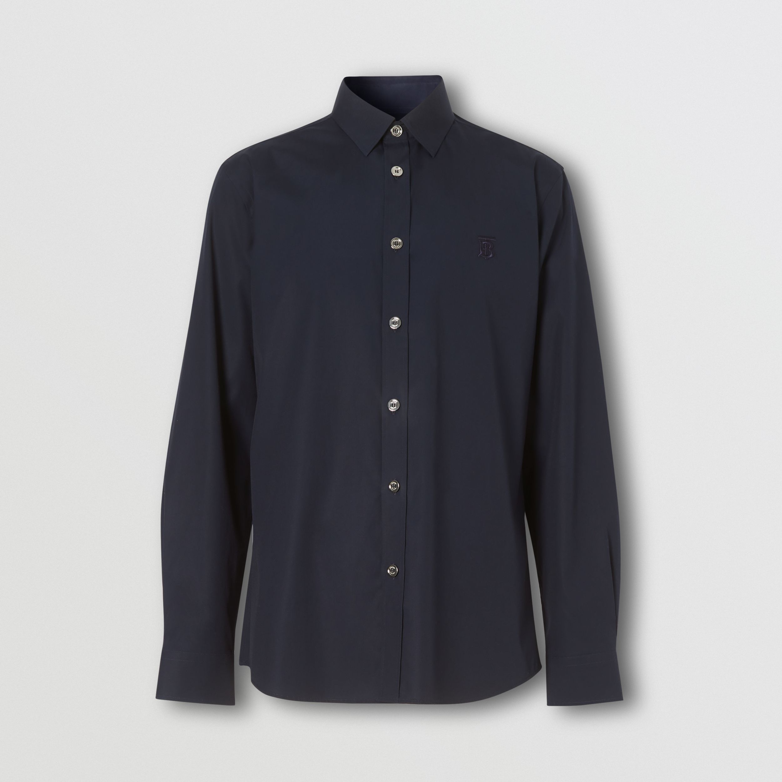 Monogram Motif Stretch Cotton Poplin Shirt in Navy - Men | Burberry - 4