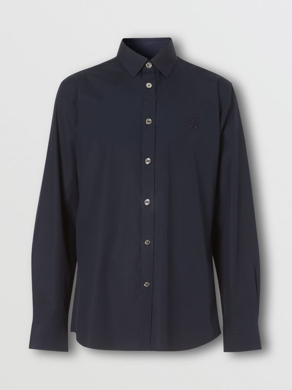 Monogram Motif Stretch Cotton Poplin Shirt in Navy - Men | Burberry Australia - cell image 3