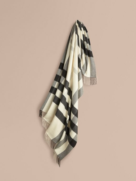 Check Cashmere Blanket Natural White
