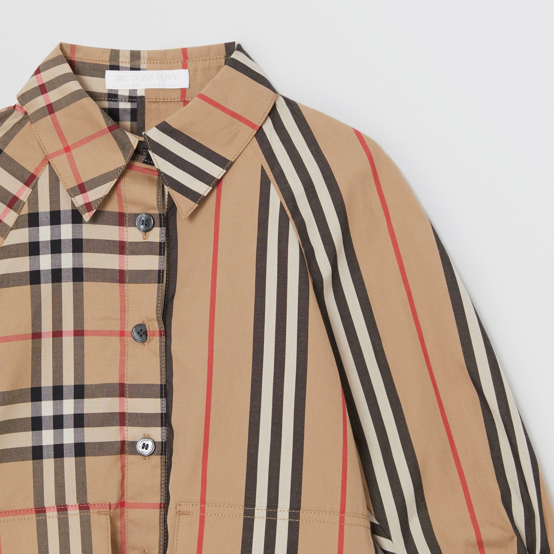 Vintage Check and Icon Stripe Cotton Shirt Dress in Archive Beige - Children | Burberry - gallery image 4