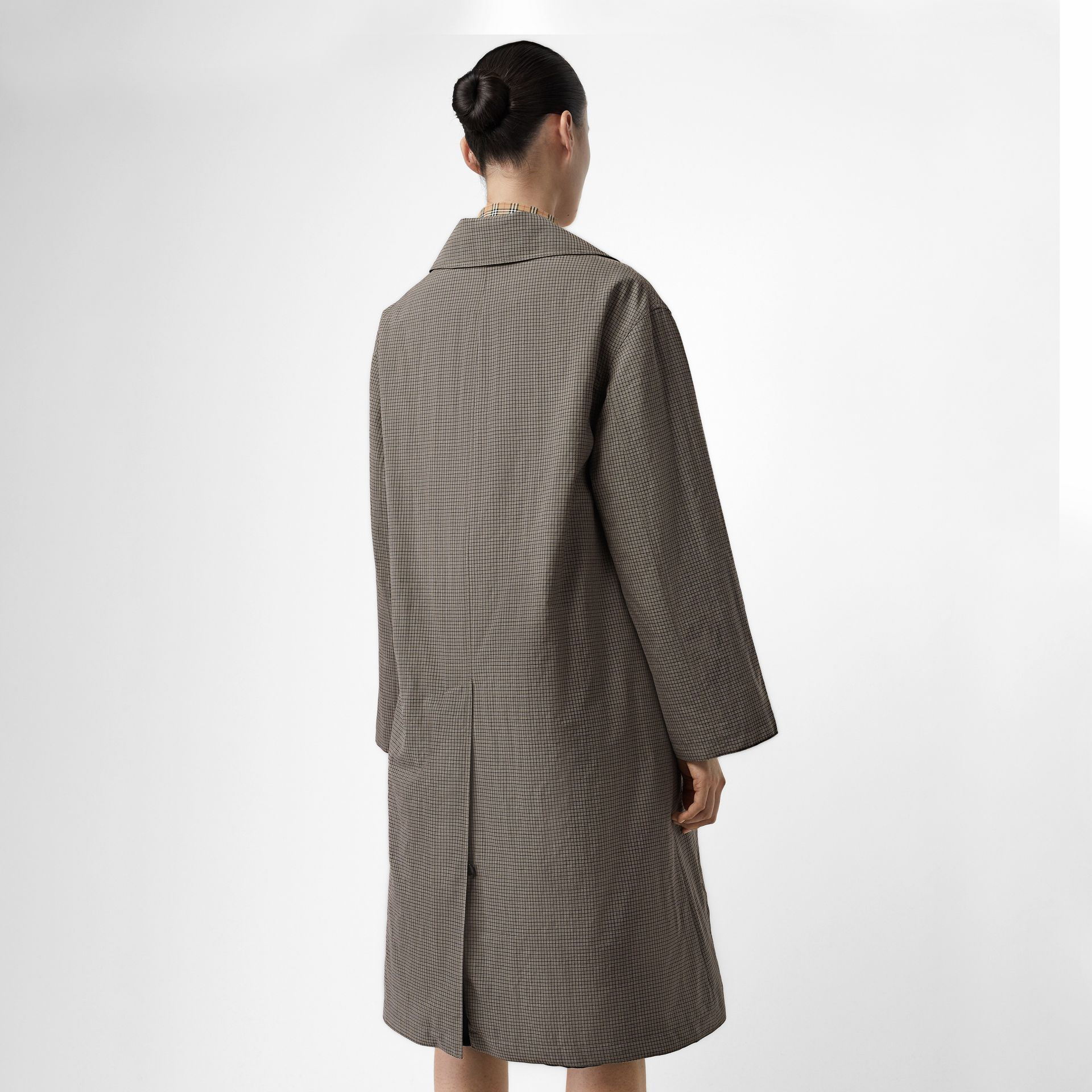 Check Wool Oversized Coat in Taupe - Women | Burberry - gallery image 2