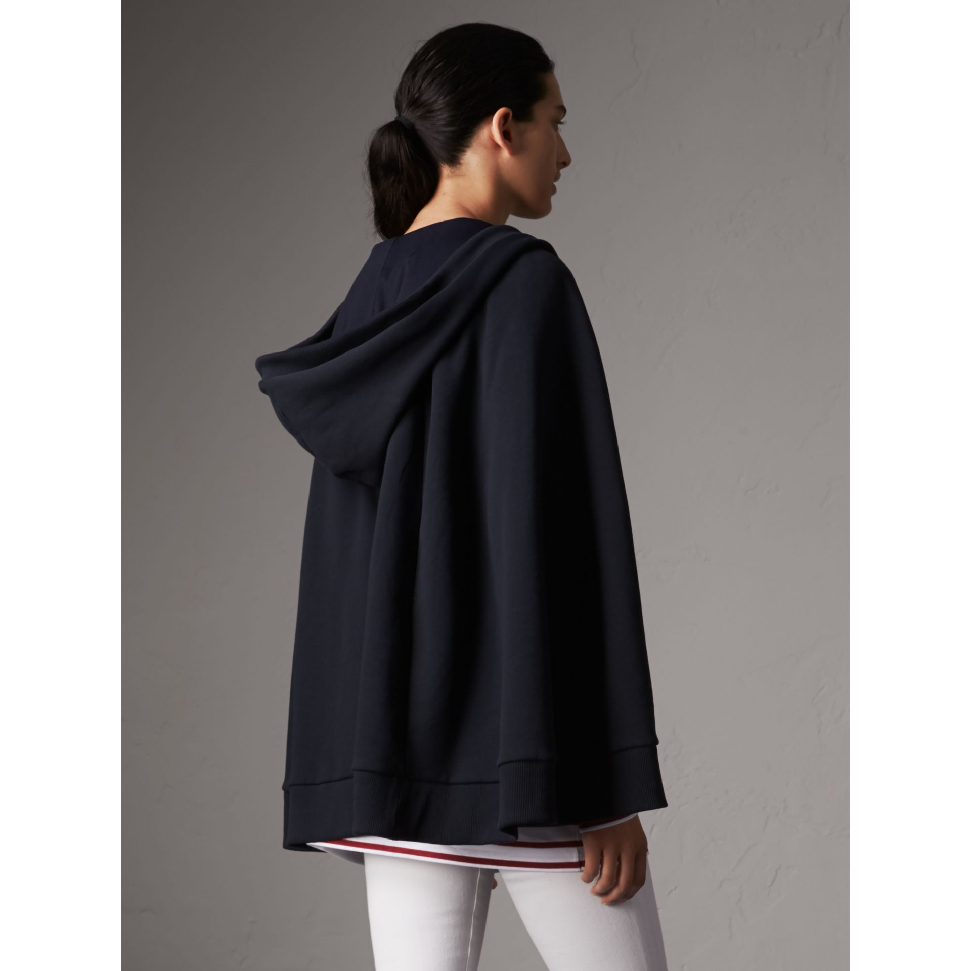 Jersey Hooded Cape in Navy - Women | Burberry - gallery image 3