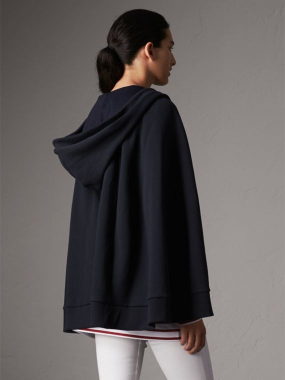 Jersey Hooded Cape in Navy - Women | Burberry United States - cell image 2