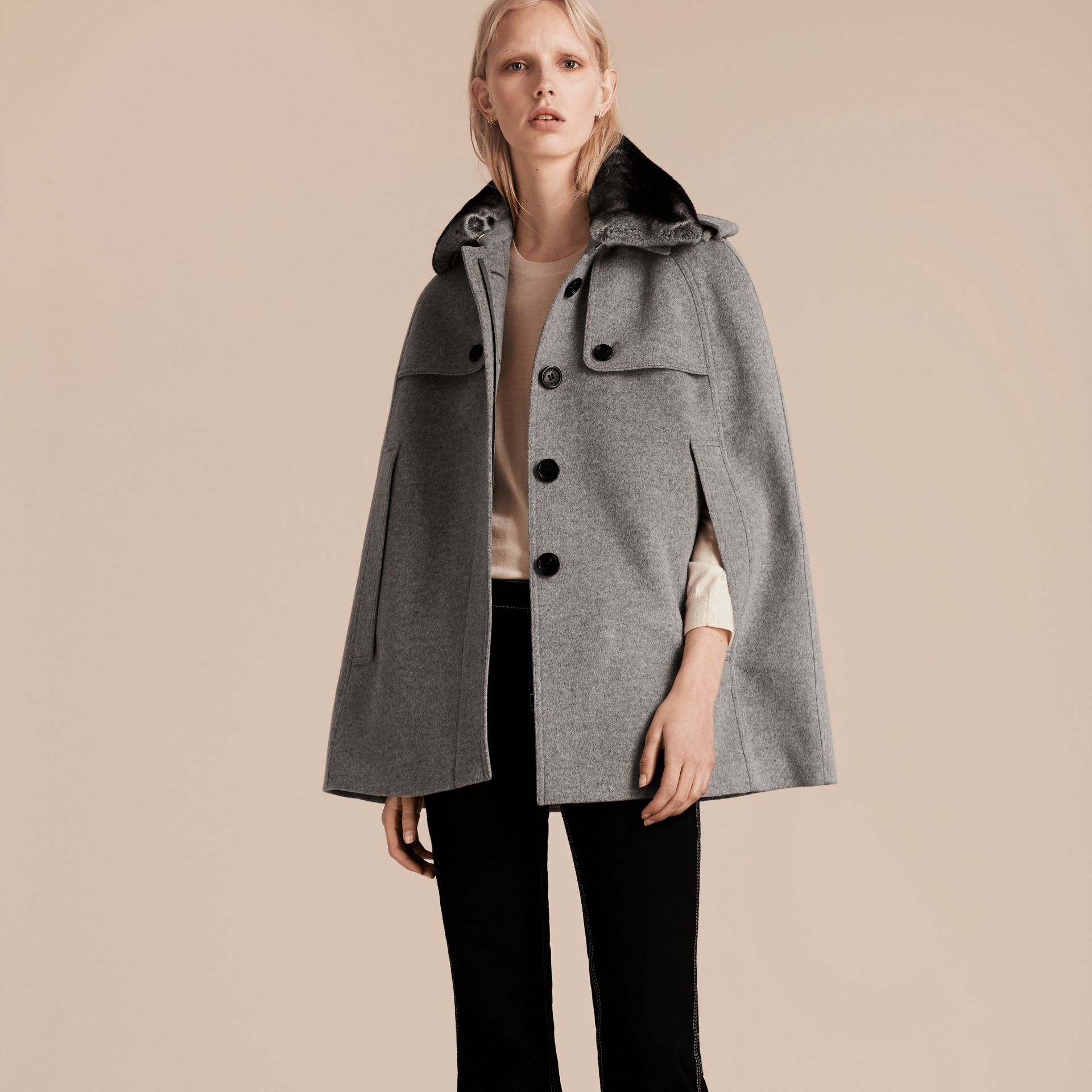 Pale grey melange Wool Cashmere Trench Cape with Detachable Fur Collar - gallery image 7