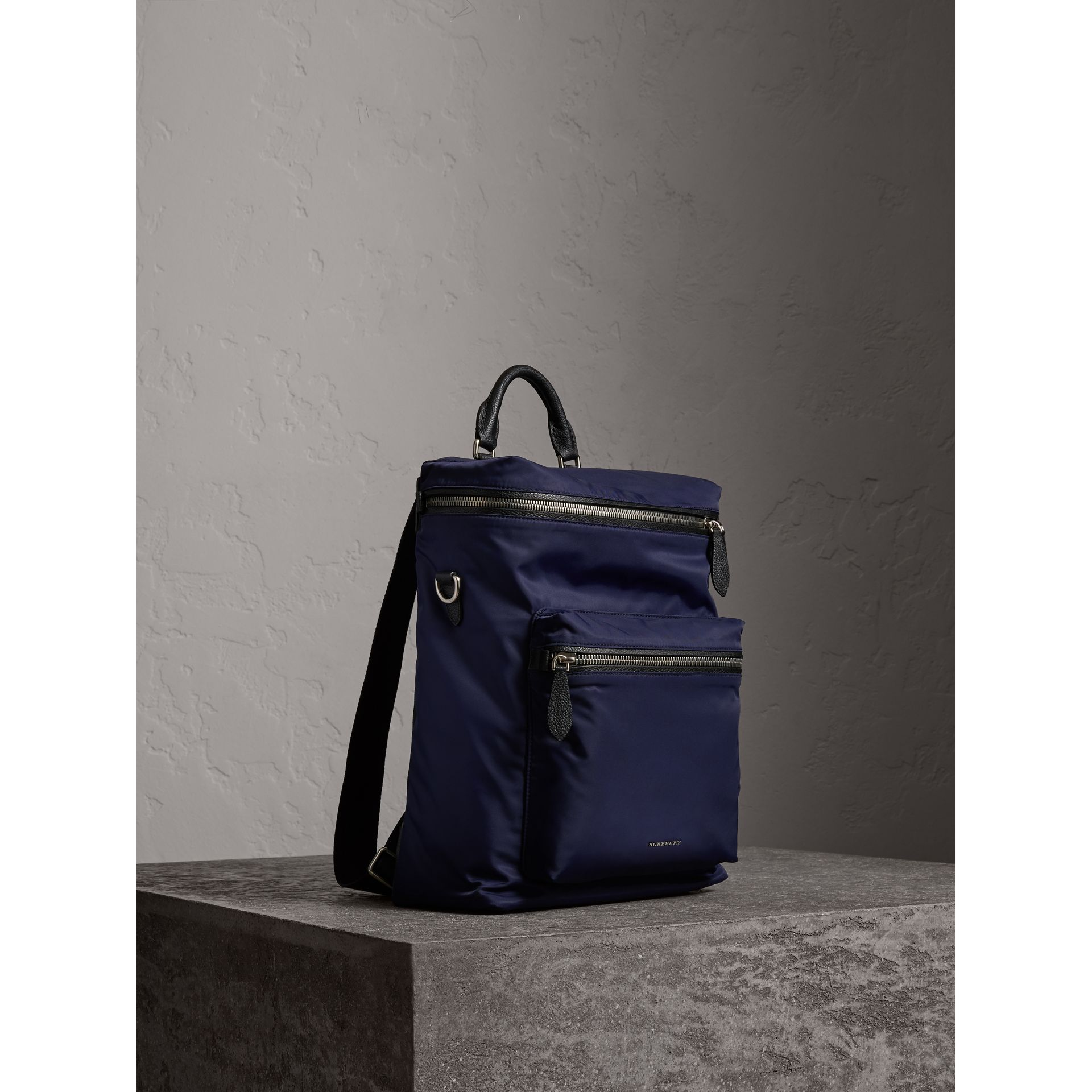 Zip-top Leather Trim Showerproof Backpack in Dark Navy - Men | Burberry - gallery image 7
