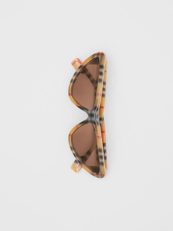 Vintage Check Triangular Frame Sunglasses in Antique Yellow - Women | Burberry - cell image 3