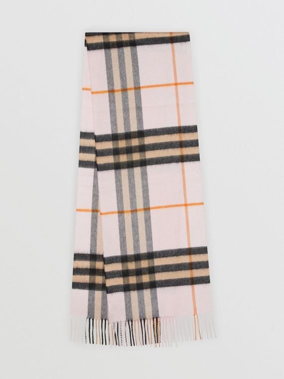 The Classic Cashmere Scarf in Check in Pale Blossom