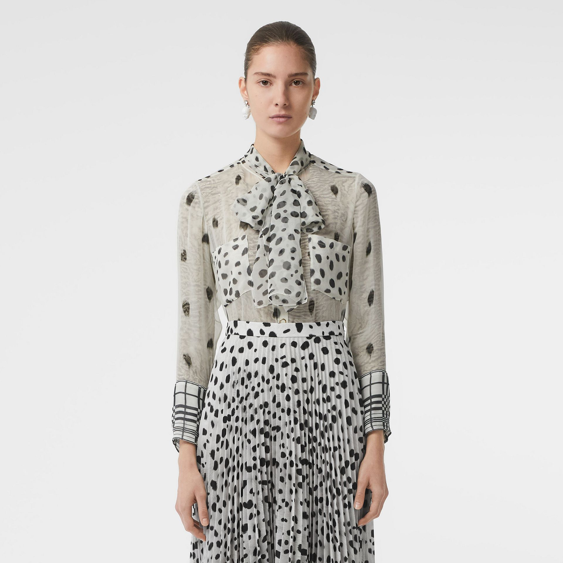 Dalmatian Print Crepe Pleated Skirt in Black/white - Women | Burberry Australia - gallery image 5