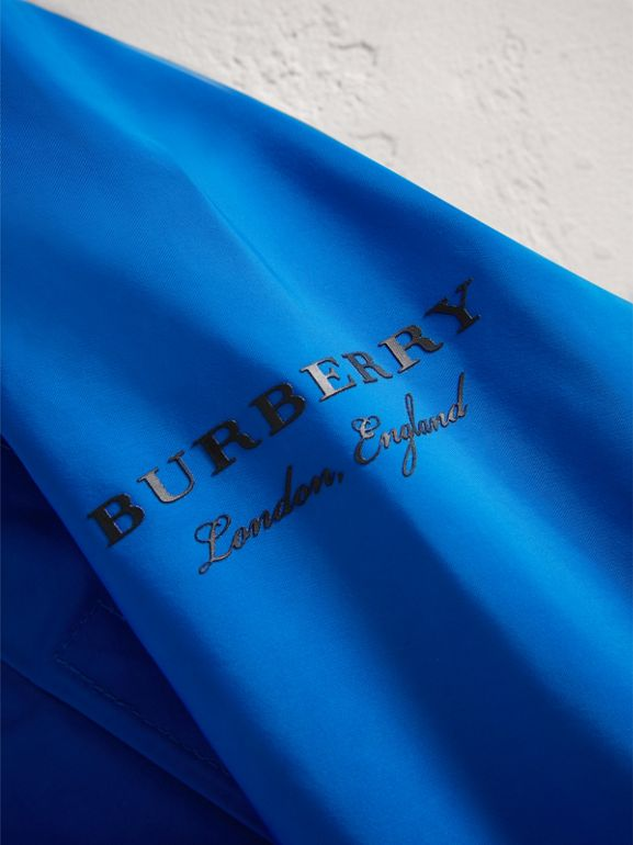 Shape Memory Taffeta Hooded Jacket in Azure Blue | Burberry United Kingdom - cell image 1