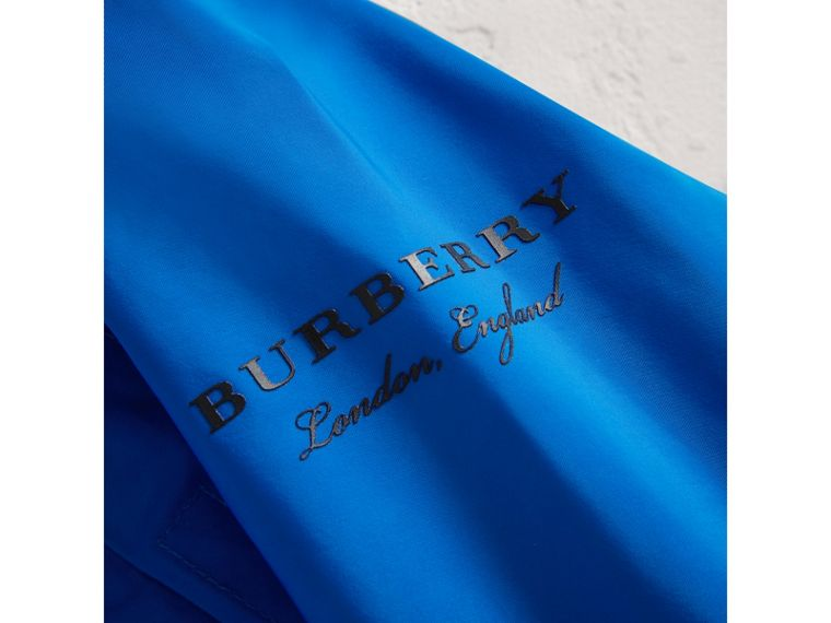 Shape Memory Taffeta Hooded Jacket in Azure Blue | Burberry - cell image 1