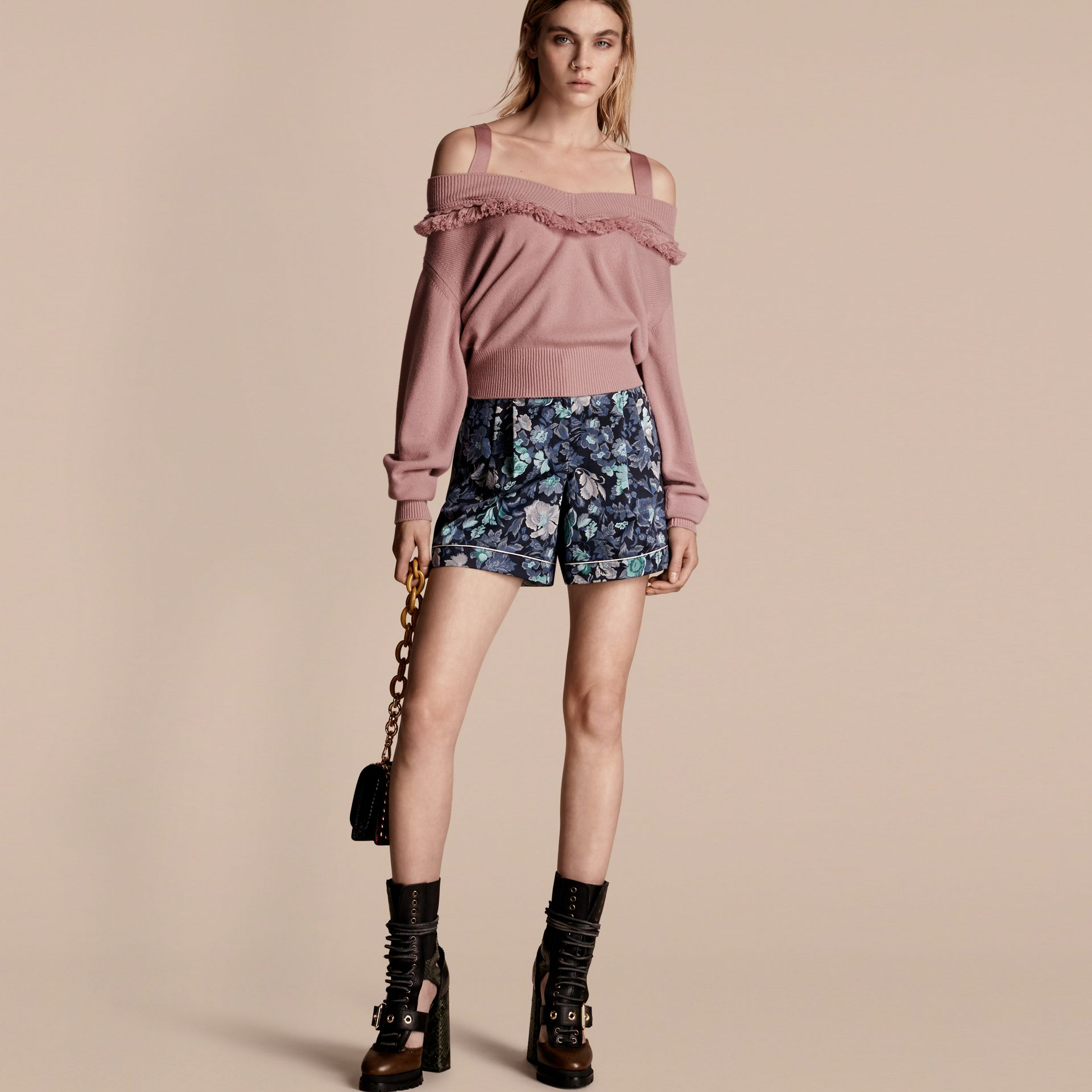 Blossom Fringed Off-the-shoulder Cashmere Sweater Blossom - gallery image 1