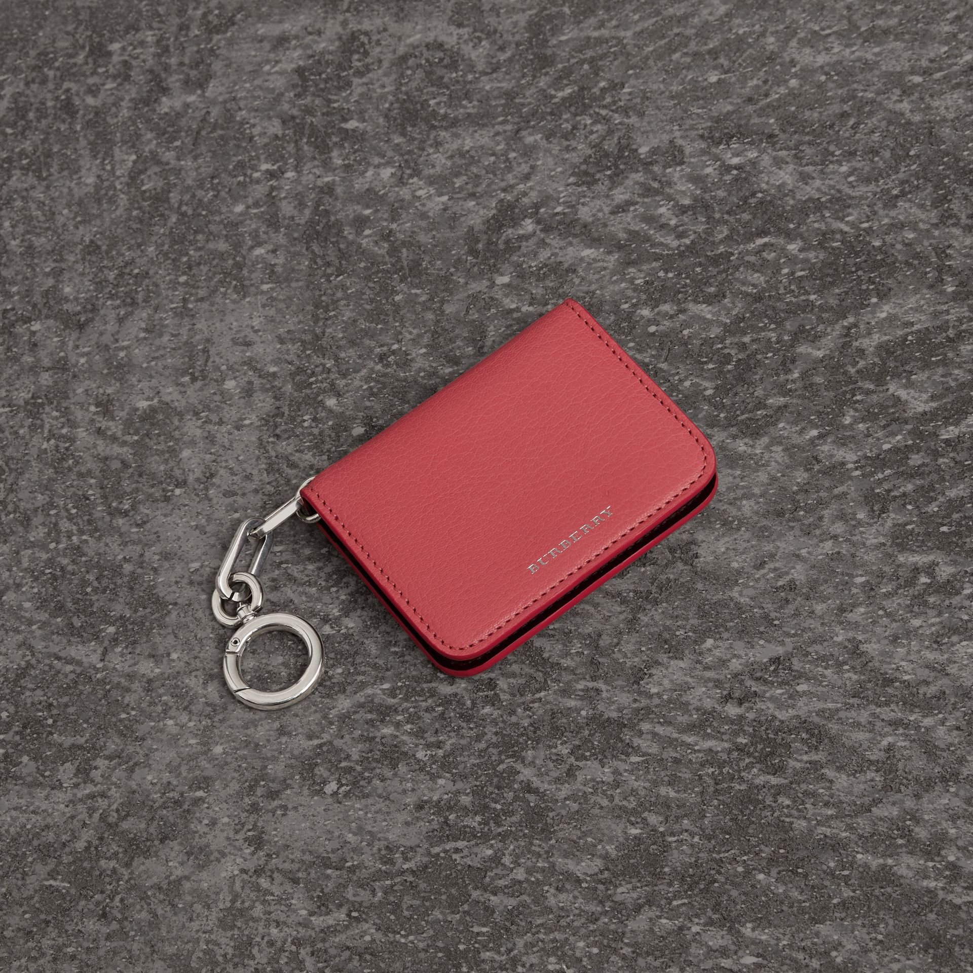 Link Detail Leather ID Card Case Charm in Bright Coral Pink - Women | Burberry - gallery image 0