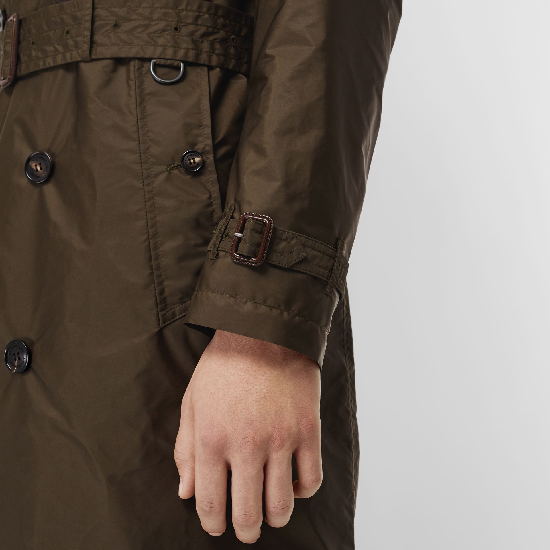 Lightweight Nylon Trench Coat in Military Green - Men | Burberry - gallery image 4