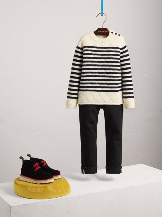 Quilted Breton Stripe Wool Cashmere Sweater in Natural White