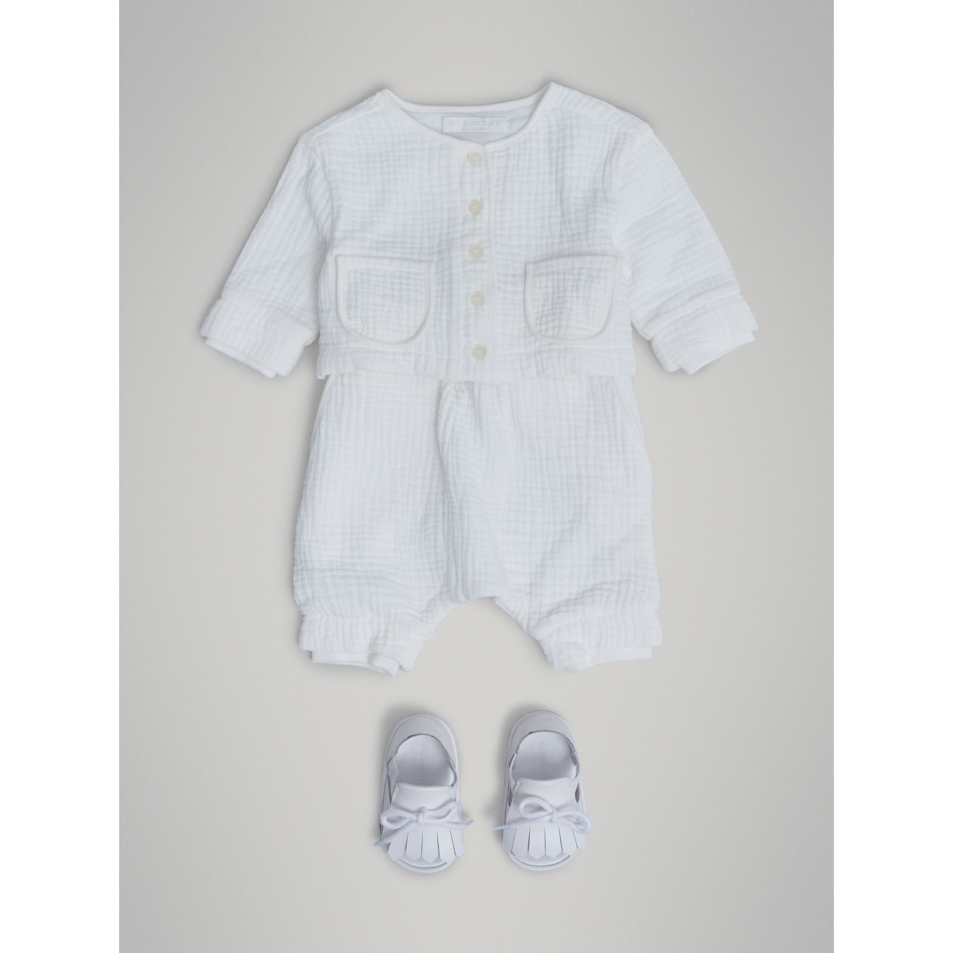 Cotton Two-piece Baby Gift Set in White | Burberry Singapore - gallery image 2