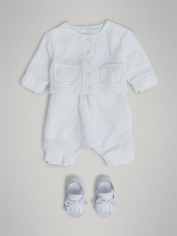 Cotton Two-piece Baby Gift Set in White | Burberry Singapore - cell image 2