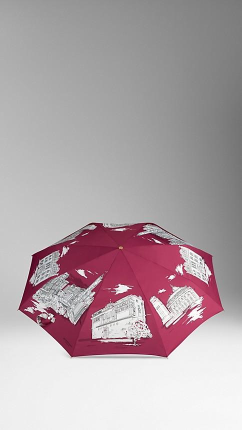 Cherry pink Hong Kong Landmarks Folding Umbrella - Image 3