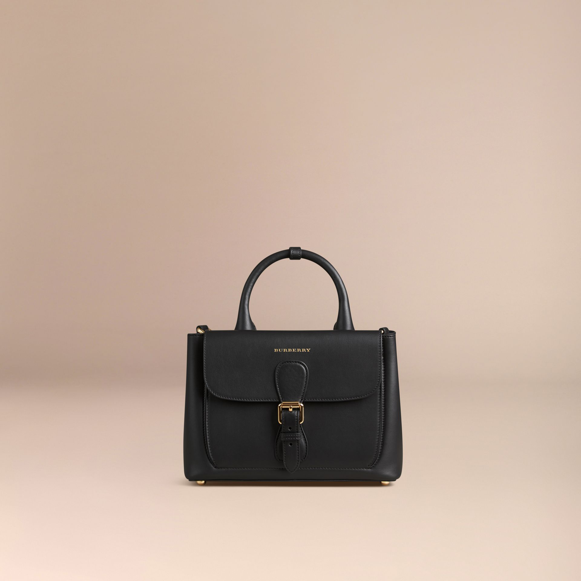 Black The Small Saddle Bag in Smooth Bonded Leather Black - gallery image 7