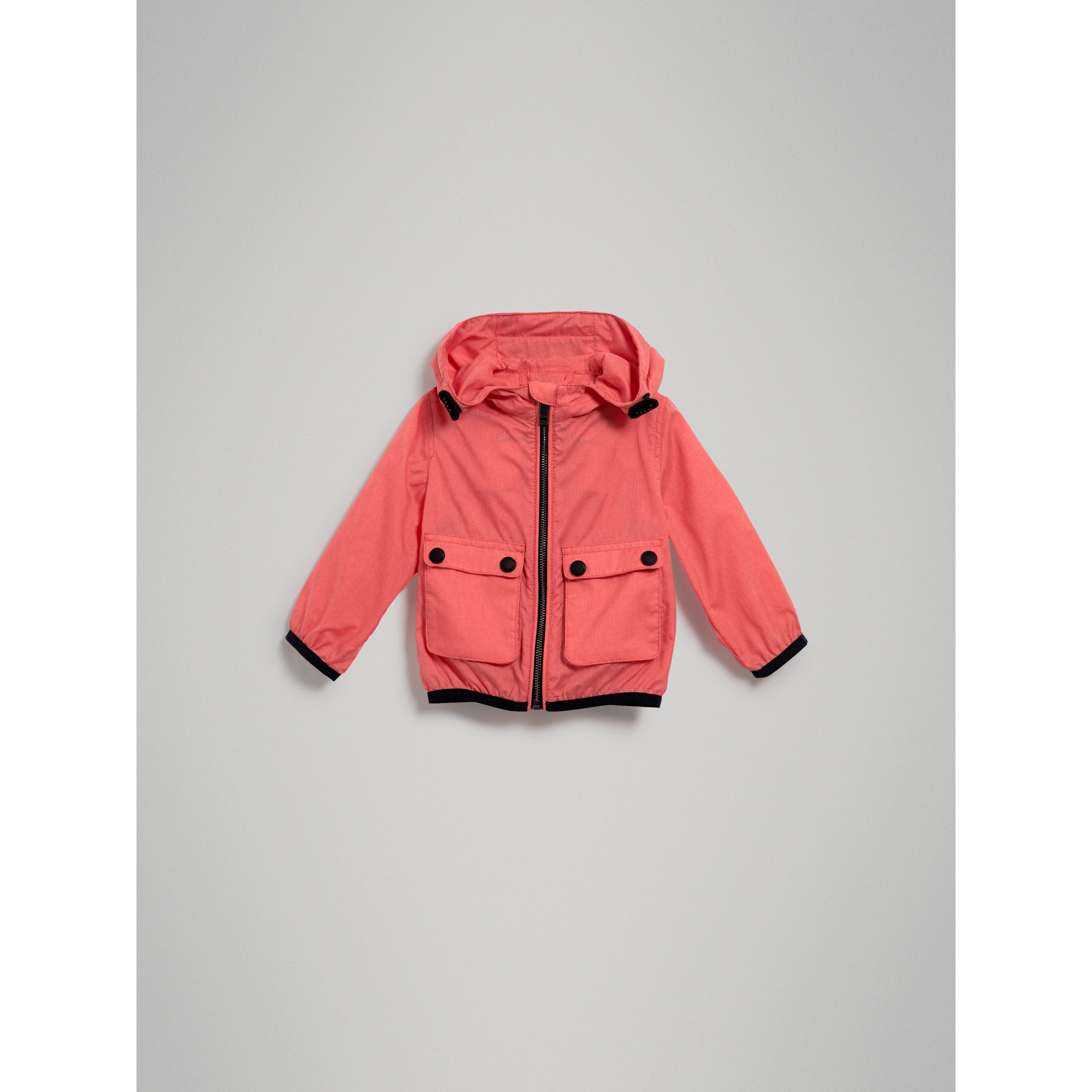 Showerproof Hooded Jacket in Bright Coral Pink | Burberry Singapore - gallery image 2