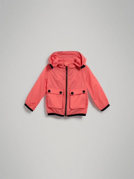 Showerproof Hooded Jacket in Bright Coral Pink | Burberry Australia - cell image 2