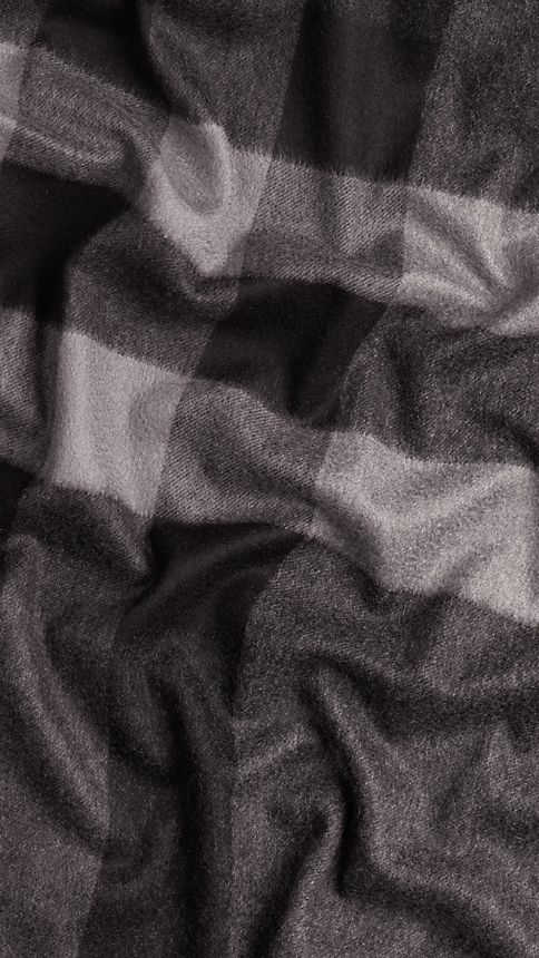 Charcoal check Check Cashmere Blanket Charcoal - Image 3
