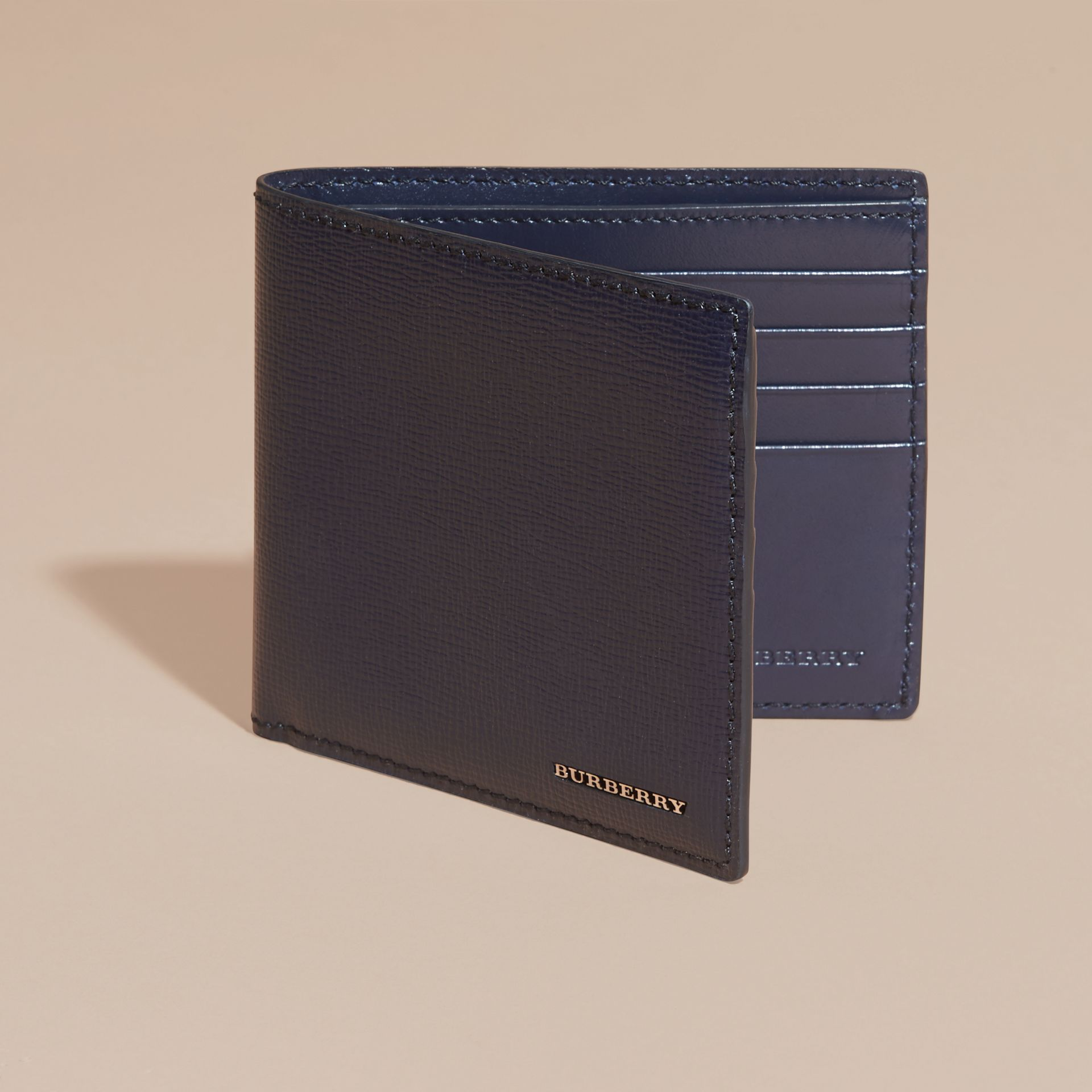 Dark navy London Leather Folding Wallet Dark Navy - gallery image 6