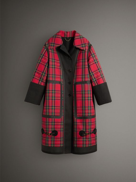 Tartan Bonded Cotton Seam-sealed Oversized Car Coat in Black - Women | Burberry - cell image 3