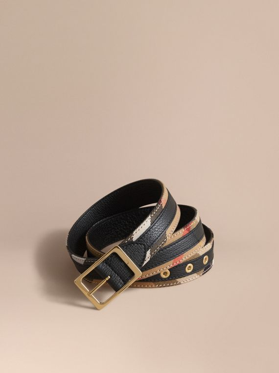 Reversible House Check and Grainy Leather Belt in Camel/black