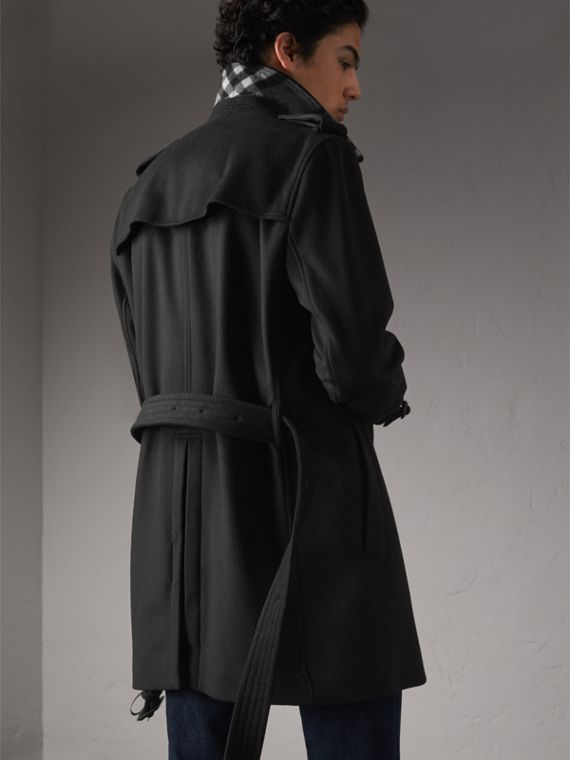 Wool Cashmere Trench Coat in Black - Men | Burberry Australia - cell image 2
