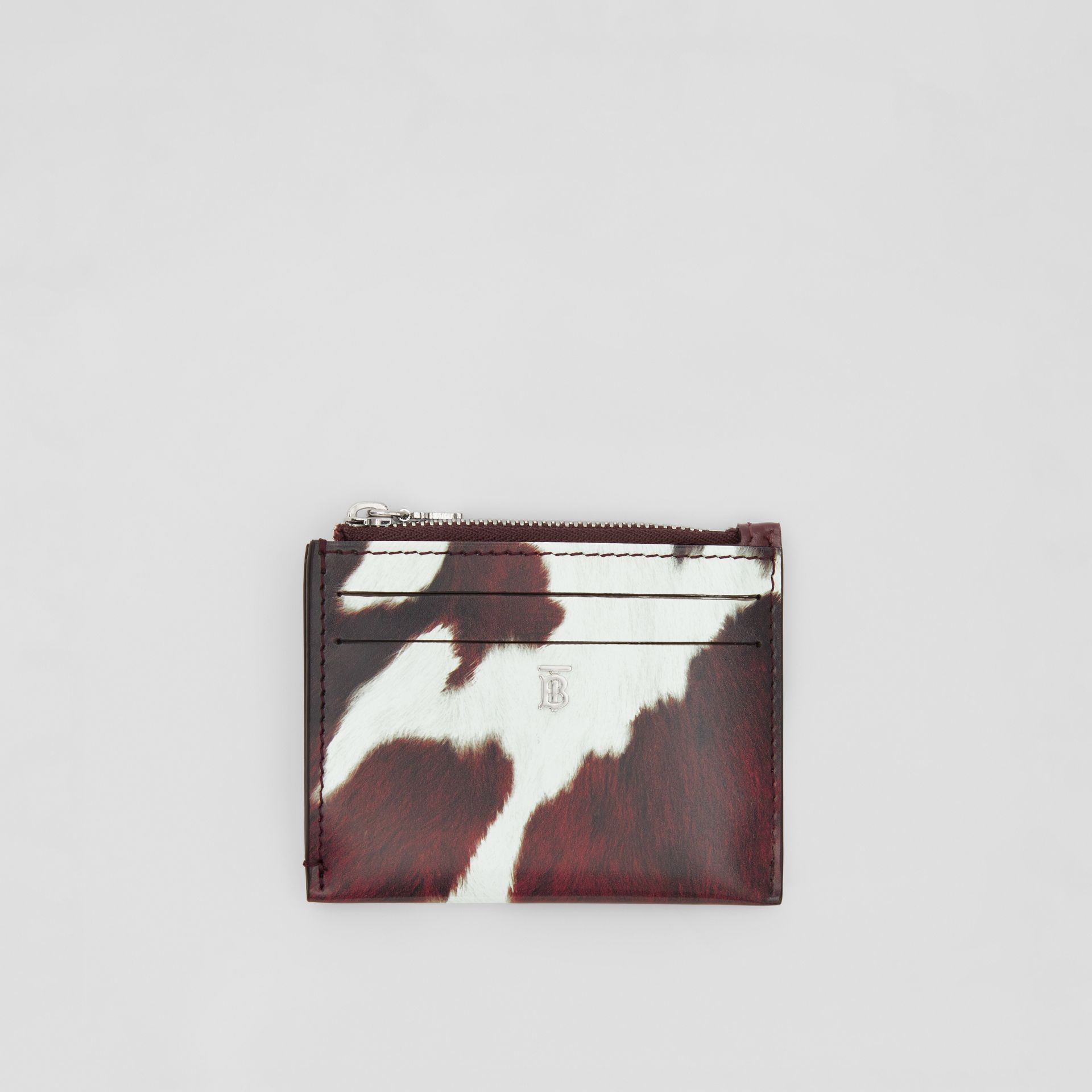 Cow Print Leather Zip Card Case in Mahogany - Women | Burberry Australia - gallery image 0