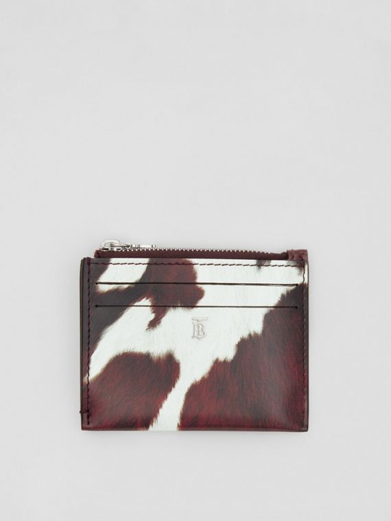 Cow Print Leather Zip Card Case in Mahogany