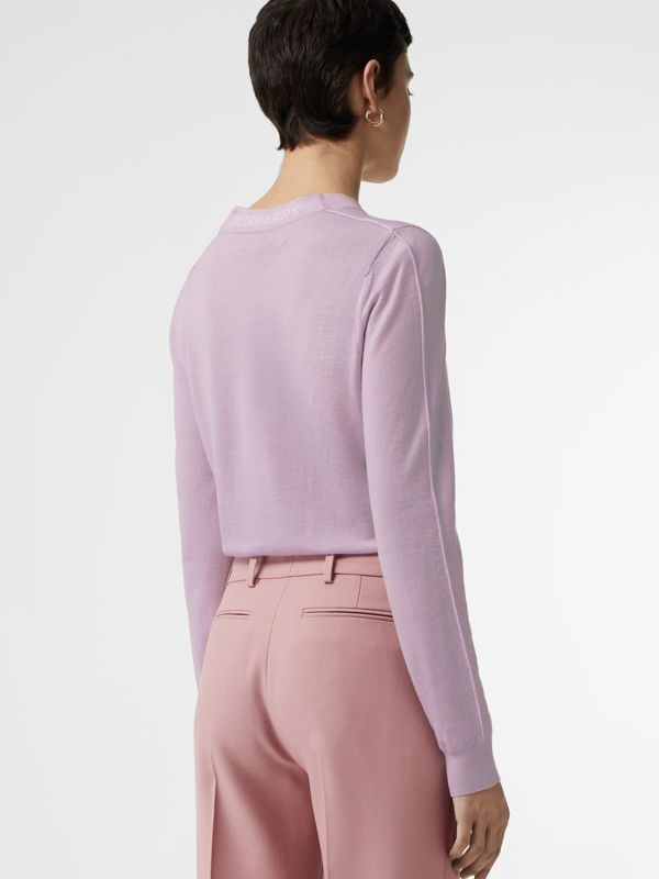 Logo Detail Merino Wool Sweater in Pale Heather - Women | Burberry - cell image 2